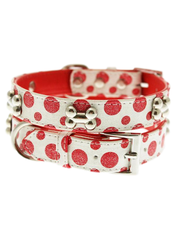 Red / White Polka Dot Glitter Silver Bone Collar - The Dog Demands, [product_dog accessories]