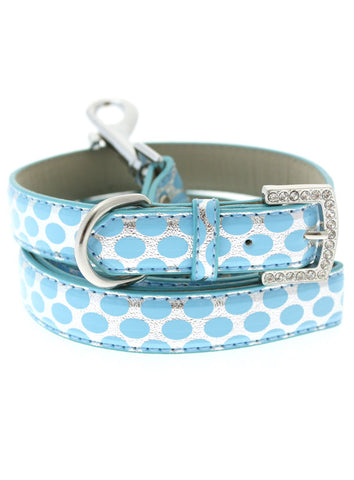 Silver & Blue Polka Dot Collar & Lead Set - The Dog Demands, [product_dog accessories]