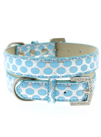 Silver & Blue Polka Dot Collar - The Dog Demands, [product_dog accessories]