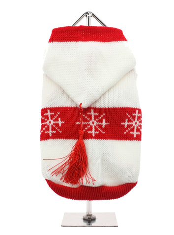 White Snowflake Sweater with Hood – White and Red - The Dog Demands, [product_dog accessories]