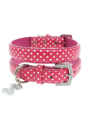 Hot Pink Polka Dot Collar & Diamante Heart Charm - The Dog Demands, [product_dog accessories]
