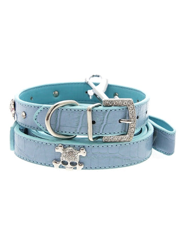 Skull & Crossbones Diamante Collar & Lead Set - The Dog Demands, [product_dog accessories]