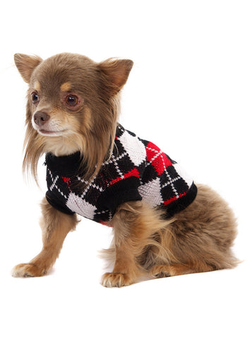 Red & Black Argyle Sweater - The Dog Demands, [product_dog accessories]