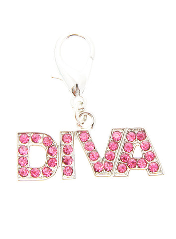 Swarovski ''Diva'' Dog Collar Charm (Pink Crystals) - The Dog Demands, [product_dog accessories]