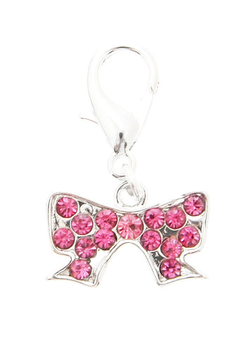 Swarovski Ribbon Dog Collar Charm (Pink Crystals) - The Dog Demands, [product_dog accessories]