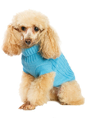 Blue Cable Knit Sweater - The Dog Demands, [product_dog accessories]