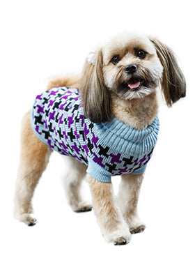 Blue / Purple Cross Checked Sweater - The Dog Demands, [product_dog accessories]
