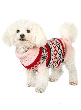 Oyster Pink Fair Isle Vintage Sweater - The Dog Demands, [product_dog accessories]