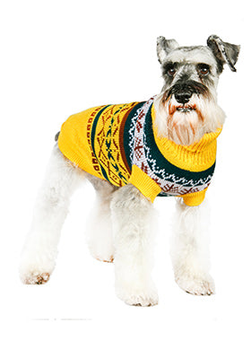 Yellow Fair Isle Vintage Sweater - The Dog Demands, [product_dog accessories]