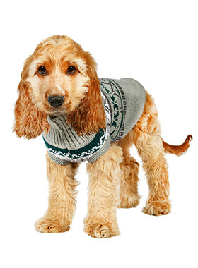 Grey Fair Isle Vintage Sweater - The Dog Demands, [product_dog accessories]