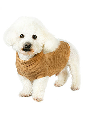 Brown Waffle Textured Knitted Sweater - The Dog Demands, [product_dog accessories]