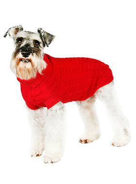 Red Waffle Textured Knitted Sweater - The Dog Demands, [product_dog accessories]
