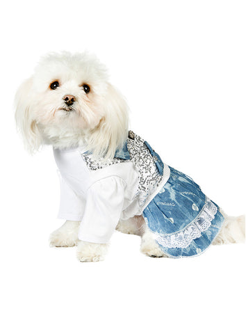T-Shirt & Blue Denim Dress - The Dog Demands, [product_dog accessories]