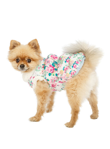 Rose Sensation Faux Fur Trimmed Coat – White, Pink and Green - The Dog Demands, [product_dog accessories]