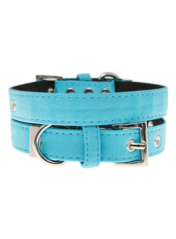 Neon Blue Fabric Collar - The Dog Demands, [product_dog accessories]