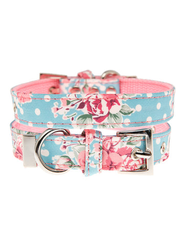 Vintage Rose Floral Fabric Collar - The Dog Demands, [product_dog accessories]