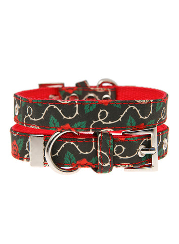 Skull & Roses Fabric Collar - The Dog Demands, [product_dog accessories]