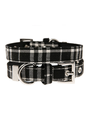 Black & White Tartan Fabric Collar - The Dog Demands, [product_dog accessories]