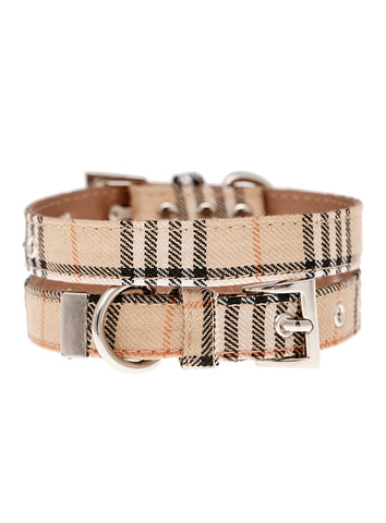 Brown Checked Tartan Fabric Collar - The Dog Demands, [product_dog accessories]