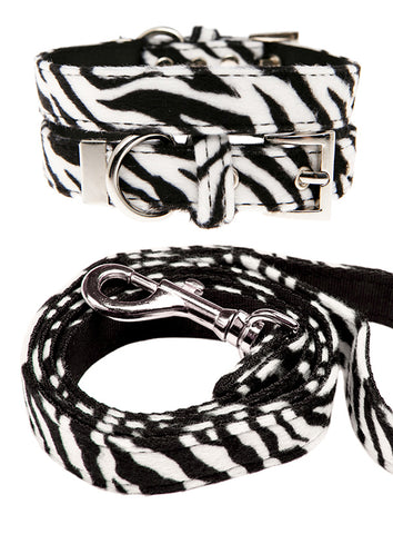 Zebra Print Fabric Collar & Lead Set - The Dog Demands, [product_dog accessories]