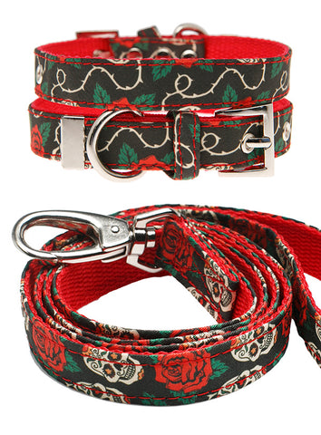 Skull & Roses Fabric Collar & Lead Set - The Dog Demands, [product_dog accessories]