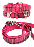 Fuschia Pink Tartan Fabric Collar & Lead Set - The Dog Demands, [product_dog accessories]