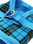 Luxury Fur Lined Blue Tartan Harness - The Dog Demands, [product_dog accessories]