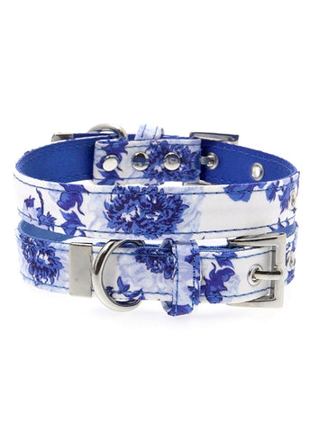 Blue Floral Bouquet Fabric Collar - The Dog Demands, [product_dog accessories]