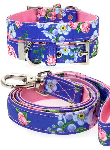 Pink / Blue Floral Burst Fabric Collar & Lead Set - The Dog Demands, [product_dog accessories]