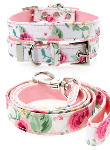 Pink Floral Cascade Fabric Collar & Lead Set - The Dog Demands, [product_dog accessories]