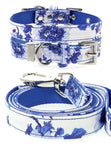 Blue Floral Bouquet Fabric Collar & Lead Set - The Dog Demands, [product_dog accessories]
