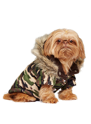 Forest Camouflage Fish Tail Parka - The Dog Demands, [product_dog accessories]