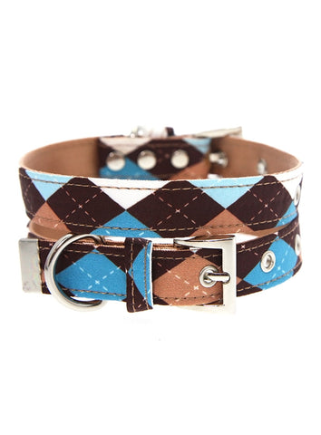 Brown & Blue Argyle Collar - The Dog Demands, [product_dog accessories]