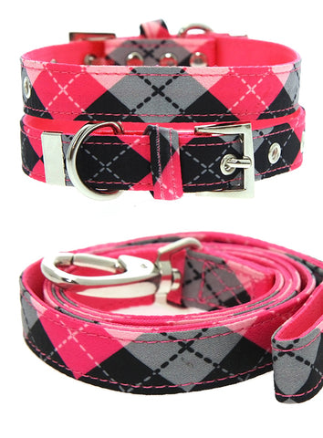 Pink Argyle Collar & Lead Set - The Dog Demands, [product_dog accessories]