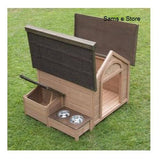 Sylvan Comfort FSC Large Dog Kennel Pup Dog House House Pet, <br>A lovely dog kennel with pitched roof which opens up, separate roofed storage section and raised feeding area. The Sylvan Comfort FSC Dog Kennel is made using FSC certified wood. - The Dog Demands, [product_dog accessories]