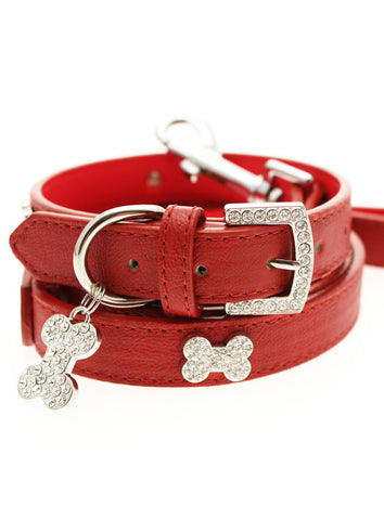 Red Leather Diamante Collar / Diamante Bone Charm & Lead Set - The Dog Demands, [product_dog accessories]