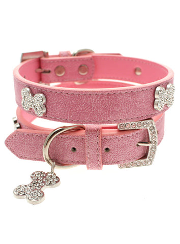 Pink Leather Diamante Collar & Diamante Bone Charm - The Dog Demands, [product_dog accessories]