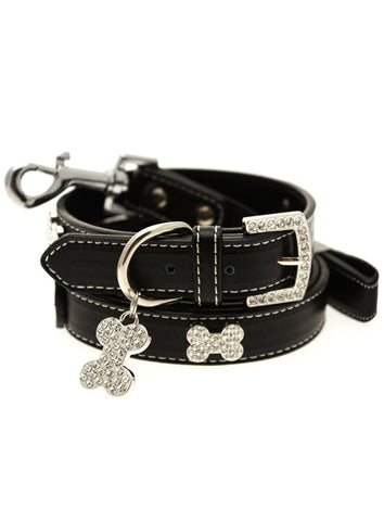 Black Leather Diamante Collar / Diamante Bone Charm & Lead Set - The Dog Demands, [product_dog accessories]