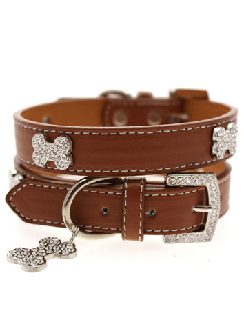 Brown Leather Diamante Collar & Diamante Bone Charm - The Dog Demands, [product_dog accessories]