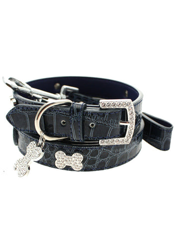 Blue Crocodile Leather Diamante Collar / Diamante Bone Charm & Lead Set - The Dog Demands, [product_dog accessories]