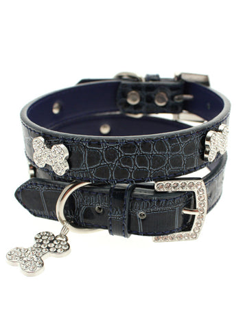 Blue Crocodile Leather Diamante Collar & Diamante Bone Charm - The Dog Demands, [product_dog accessories]