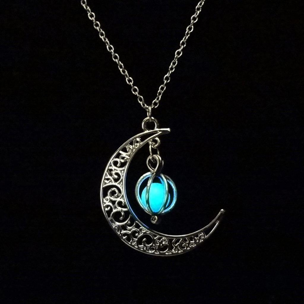 fine moon necklaces item photo the glow plated in from cabochon silver jewelry necklace dark art cat pendant glowing