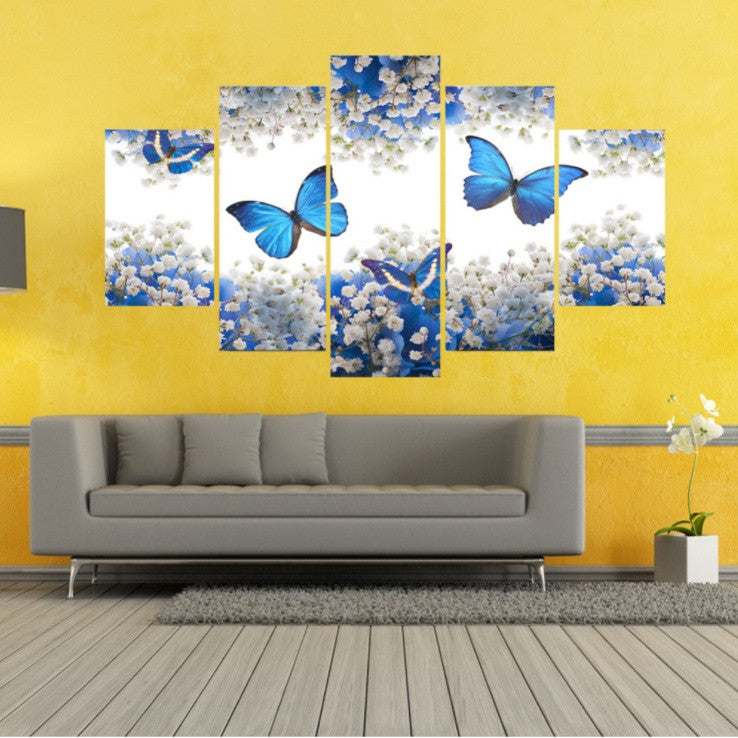 Blue Butterfly 5 Piece Canvas Limited Edition – Super Shop Stop