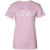 Image of light pink love mountain tshirt the peep hole store