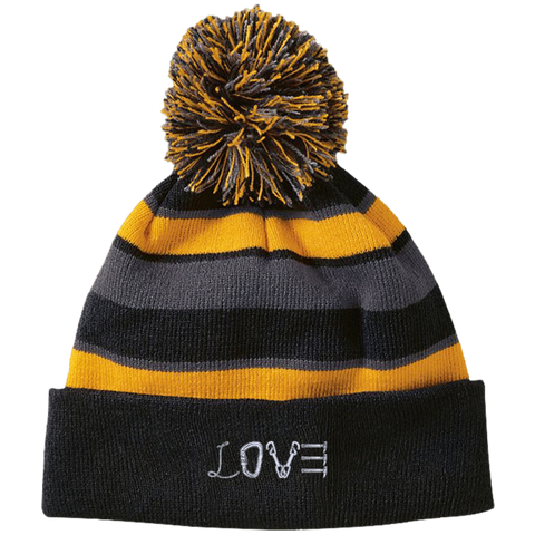 Love Mountain Striped Beanie with Pom