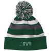 Image of Love Mountain Striped Beanie with Pom