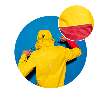RAYNSIE | Dip Yellow Red | Waterproof onesie for urban cycling, outdoor, festival and camping