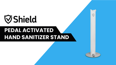 SHEILD PEDAL ACTIVATED HAND SANITIZER STAND