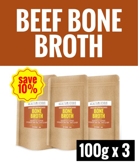 Pasture-Raised Beef Bone Broth Powder [3 Packs x 100g] - Healtholicious One-Stop Biohacking Health Shop