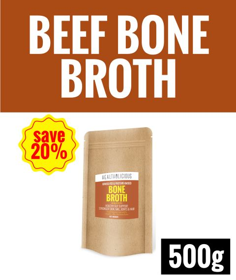 Pasture-Raised Beef Bone Broth Powder [500g] - Healtholicious One-Stop Biohacking Health Shop